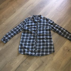 Faded Glory Ruffle Detail Button Down Flannel -XL